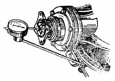 Определение осевого люфта в подшипниках ведущей шестерни главной передачи индикатором