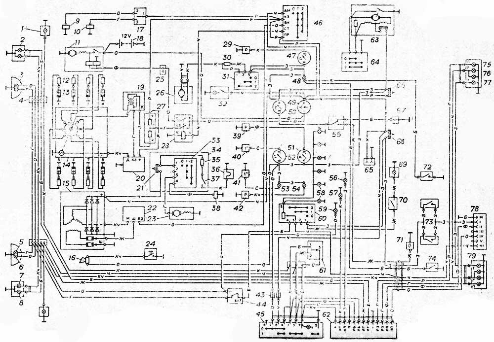 Схема электрооборудования автомобиля ГАЗ 53-12