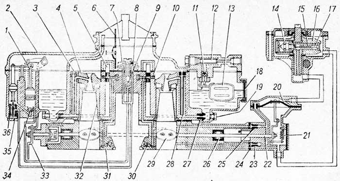 Схема карбюратора К-135 и датчика ограничителя частоты вращения